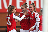 Vivianne Miedema of Arsenal (C) celebrates the first goal during Arsenal Women vs Bristol City Women, Barclays FA Women's Super League Football at Meadow Park on 1st December 2019