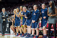 College Park, MD - DEC 29, 2016: Connecticut Huskies bench is fired up after a late three point basket during the game between No. 1 UConn and the No. 3 Terrapins at the XFINITY Center in College Park, MD. UConn defeated Maryland 87-81. (Photo by Phil Peters/Media Images International)