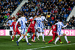 CD Leganes's players and Getafe CF's players fight for the ball during La Liga match between CD Leganes and Getafe CF at Butarque Stadium in Leganes, Spain. December 07, 2018. (ALTERPHOTOS/A. Perez Meca)