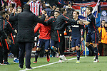 Atletico de Madrid's Matias Kranevitter, Yannick Carrasco, Antoine Griezmann and Lucas Hernandez celebrate goal during Champions League 2015/2016 Quarter-Finals 2nd leg match. April 13,2016. (ALTERPHOTOS/Acero)