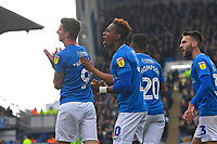 Oliver Hawkins of Portsmouth left celebrates after scoring the first goal during Portsmouth vs Rochdale, Sky Bet EFL League 1 Football at Fratton Park on 13th April 2019