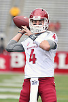 Luke Falk, Washington State University quarterback, warms up prior to the Cougars first road test of the season against Big Ten foe Rutgers at High Point Solutions Stadium in Piscataway, New Jersey, on September 12, 2015.  WSU came back from a late deficit to go on a 90 yard touchdown drive to score the winning TD with 13 seconds left to get the win, 37-34.