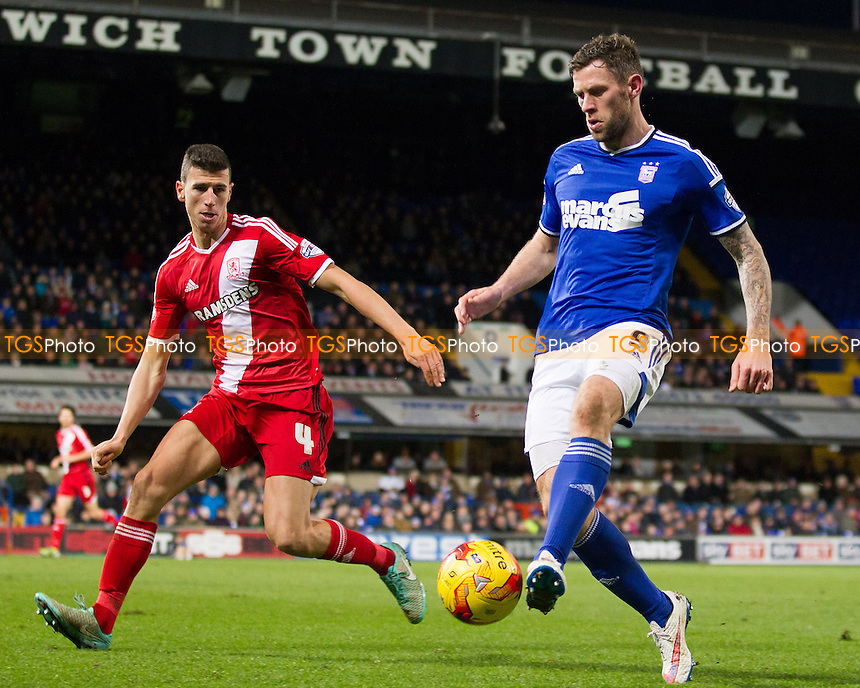 Daryl Murphy of Ipswich Town controls a through ball as the hosts attack under pressure from Daniel Ayala of Middlesbrough - Ipswich Town v Middlesbrough - Sky Bet Championship Football  at Portman Road, Ipswich, Suffolk  - 20/12/14 - MANDATORY CREDIT: Ray Lawrence/TGSPHOTO - Self billing applies where appropriate - contact@tgsphoto.co.uk - NO UNPAID USE