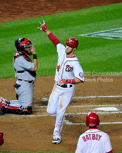 Washington Nationals center fielder Bryce Harper (34) celebrates after hitting a home run in the third inning of game 5 of the NLDS against the St. Louis Cardinals at Nationals Park in Washington, D.C. on Friday, October 12, 2012. The Cardinals won the game and the series 9 - 7..Credit: Ron Sachs / CNP