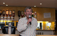 Joe Flaherty talks in the Hospitality lounge during the Greene King IPA Championship match between London Scottish Football Club and Jersey at Richmond Athletic Ground, Richmond, United Kingdom on 7 November 2015. Photo by Andy Rowland.