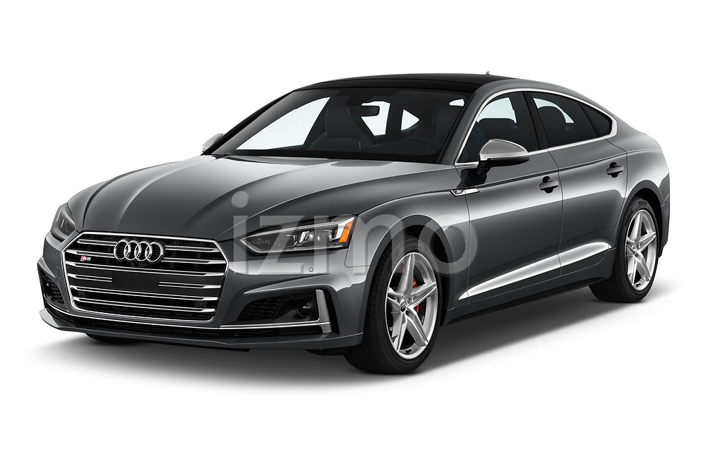 2018 Audi S5 Sportback 3.0T Premium Plus quattro Tiptronic 5 Door Hatchback angular front stock photos of front three quarter view