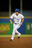 Dunedin Blue Jays center fielder Lane Thomas (3) running the bases during a game against the St. Lucie Mets on April 19, 2017 at Florida Auto Exchange Stadium in Dunedin, Florida.  Dunedin defeated St. Lucie 9-1.  (Mike Janes/Four Seam Images)