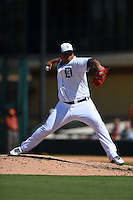 Detroit Tigers pitcher Bruce Rondon (43) during a Spring Training game against the Miami Marlins on March 25, 2015 at Joker Marchant Stadium in Lakeland, Florida.  Detroit defeated Miami 8-4.  (Mike Janes/Four Seam Images)