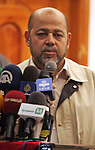 Senior Hamas leader Mousa Abu Marzouk speaks during a national meeting between his movement and the Islami Jihad movement in Khan Younis in the southern Gaza Strip, June 7, 2015. Photo by Abed Rahim Khatib