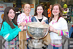 ENJOYING: Aoife Egan, Aisling Burke, Stephanie Lawlor and Nadine Walsh pictured with the Sam Maguire at the 1st anniversary celebrations in CH Chemist at the weekend.   Copyright Kerry's Eye 2008