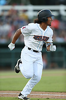 Jahmai Jones (19) of the Inland Empire 66ers runs to first base during a game against the Rancho Cucamonga Quakes at San Manuel Stadium on July 29, 2017 in San Bernardino, California. Inland Empire defeated Rancho Cucamonga, 6-4. (Larry Goren/Four Seam Images)