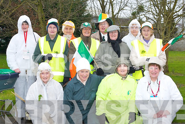 ACTIVE: Castleisland Active Retirement ladies at the Castleisland St Patricks Day Parade on Saturday. Front row l-r: Betty McCarthy, Mairead OSullivan, Kay Nolan and Mary Kelleher. Back row l-r: Beth Carty, Muire Downey, Josie Fallon, Helen Pembroke, Hannah Sugrue, Margaret OMahony, Mary OConnell and Kathleen Curtin..