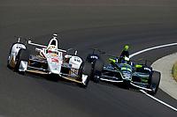 Verizon IndyCar Series<br /> Indianapolis 500 Carb Day<br /> Indianapolis Motor Speedway, Indianapolis, IN USA<br /> Friday 26 May 2017<br /> Helio Castroneves, Team Penske Chevrolet, Juan Pablo Montoya, Team Penske Chevrolet<br /> World Copyright: F. Peirce Williams