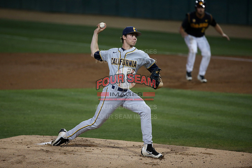 Daulton Jefferies (22) of the California Bears pitches against the Southern California Trojans at Dedeaux Field on March 18, 2016 in Los Angeles, California. California defeated Southern California, 5-4. (Larry Goren/Four Seam Images)