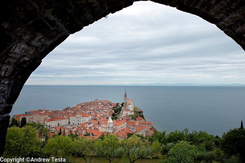 SLOVENIA.Piran . 25th July 2011.<br /> Piran, seen from the Town walls.<br /> &copy;Andrew Testa for the New York Times