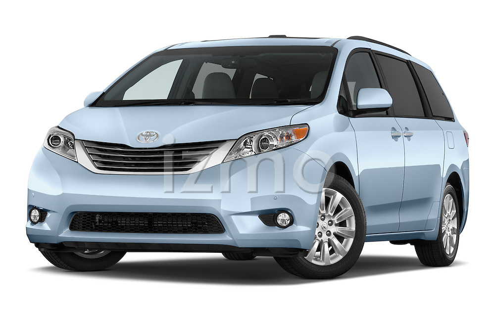 Stock pictures of low aggressive front three quarter view of 2017 Toyota Sienna XLE 5 Door Minivan Low Aggressive