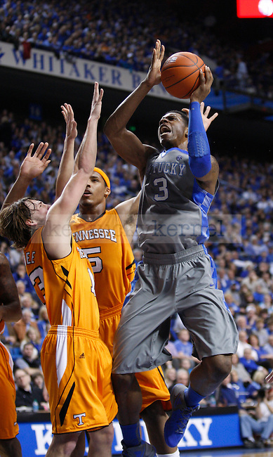 UK's Terrence Jones is fouled while going to the basket agaisnt Tennessee at Rupp Arena on Tuesday, Jan. 31, 2012. Photo by Scott Hannigan | Staff