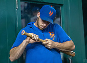 New York Mets starting pitcher Steven Matz (32) looks over fellow starting pitcher Jacob deGrom's (48) broken bat in the dugout during the game against the Washington Nationals at Nationals Park in Washington, D.C. on Tuesday, September 3, 2019.  The Nationals won the game 11-10.<br /> Credit: Ron Sachs / CNP<br /> (RESTRICTION: NO New York or New Jersey Newspapers or newspapers within a 75 mile radius of New York City)