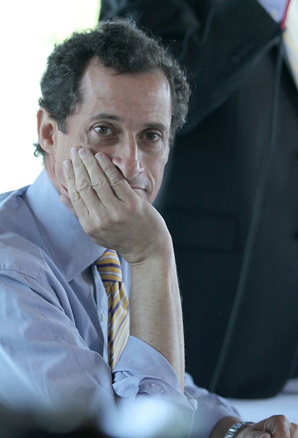 Anthony Weiner listens to questions during the Mayoral Candidates' Forum on Small Business at the La Marina restaurant on Tuesday, July 30, 2013 in New York. (AP Photo/ Donald Traill)