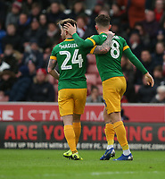 Preston North End's Alan Browne celebrates scoring the opening goal with team-mate Sean Maguire<br /> <br /> Photographer Stephen White/CameraSport<br /> <br /> The EFL Sky Bet Championship - Stoke City v Preston North End - Saturday 26th January 2019 - bet365 Stadium - Stoke-on-Trent<br /> <br /> World Copyright © 2019 CameraSport. All rights reserved. 43 Linden Ave. Countesthorpe. Leicester. England. LE8 5PG - Tel: +44 (0) 116 277 4147 - admin@camerasport.com - www.camerasport.com