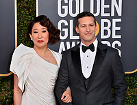 LOS ANGELES, CA. January 06, 2019: Sandra Oh &amp; Andy Samberg  at the 2019 Golden Globe Awards at the Beverly Hilton Hotel.<br /> Picture: Paul Smith/Featureflash