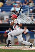 Auburn Doubledays catcher Raudy Read (29) at bat during a game against the Batavia Muckdogs on August 31, 2014 at Dwyer Stadium in Batavia, New York.  Batavia defeated Auburn 7-6.  (Mike Janes/Four Seam Images)