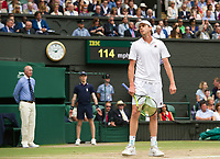 Sam Querrey (24) of United States in action against Marin Cilic (7) of Croatia in their Men's Singles Semi Final Match today<br /> <br /> Photographer Ashley Western/CameraSport<br /> <br /> Wimbledon Lawn Tennis Championships - Day 11 - Friday 14th July 2017 -  All England Lawn Tennis and Croquet Club - Wimbledon - London - England<br /> <br /> World Copyright &not;&copy; 2017 CameraSport. All rights reserved. 43 Linden Ave. Countesthorpe. Leicester. England. LE8 5PG - Tel: +44 (0) 116 277 4147 - admin@camerasport.com - www.camerasport.com