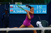 June 13th 2017, The Northern Lawn tennis Club, Manchester, England; ITF Womens tennis tournament; Fourth seed Aryna Sabalenka (BLR) hits a forehand during her first round singles match against Viktoria Kuzmova (SVK);  Sabalenka won in straight sets
