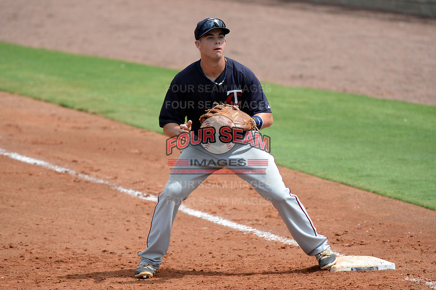 Minnesota Twins first baseman Trey Vavra during an Instructional League game against the Tampa Bay Rays on September 16, 2014 at Charlotte Sports Park in Port Charlotte, Florida.  (Mike Janes/Four Seam Images)