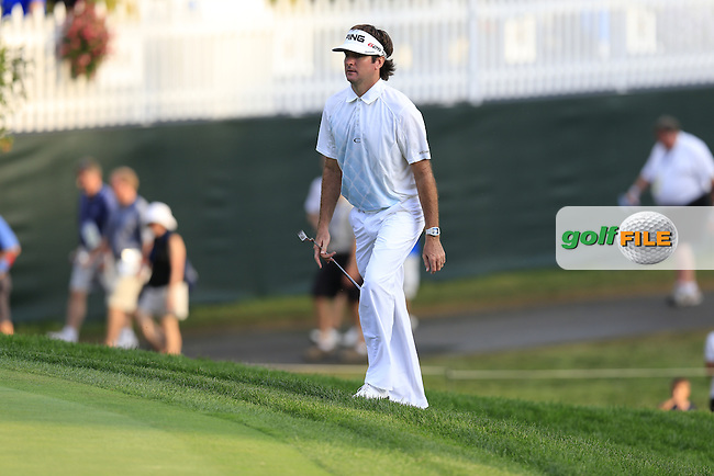 Bubba Watson (USA) walks onto the 18th green during Thursday's Round 1 of the 95th US PGA Championship 2013 held at Oak Hills Country Club, Rochester, New York.<br /> 8th August 2013.<br /> Picture: Eoin Clarke www.golffile.ie