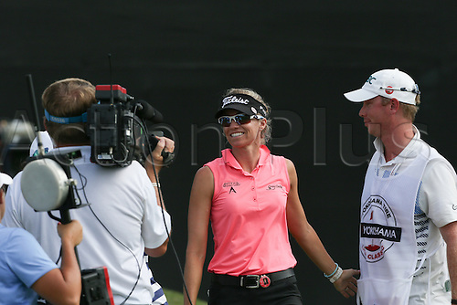 30.08.2015. Prattville, AL, USA.   Kris Tamulis is all smiles after her putt on the 18th green set her up to win the final round of the 2015 Yokohama Tire LPGA Classic at RTJ Golf Trail, Capitol Hill, Senator Course, Prattville, AL.