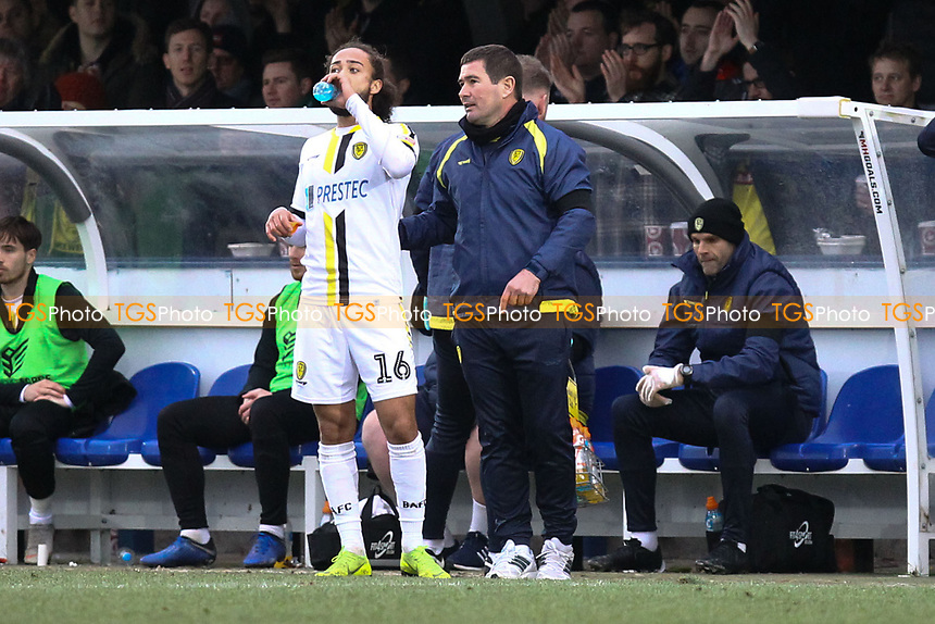 Burton Albion manager Nigel Clough with Marcus Harness of Burton Albion during AFC Wimbledon vs Burton Albion, Sky Bet EFL League 1 Football at the Cherry Red Records Stadium on 9th February 2019