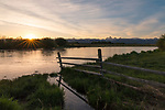 Idaho, Eastern, Driggs. A late spring sunrise over the Teton River and Range viewed from the Teton Valley.