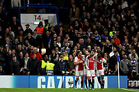 5th November 2019; Stamford Bridge, London, England; UEFA Champions League Football, Chelsea Football Club versus Ajax; Hakim Ziyech of Ajax celebrates his free kick for 1-3 in the 35th minute - Editorial Use