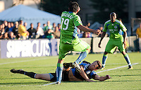 Bobby Burling slide tackles Leo Gonzalez. The Seattle Sounders defeated the San Jose Earthquakes 1-0 in the second annual Heritage Cup at Buckshaw Stadium in Santa Clara, California on July 31st, 2010.