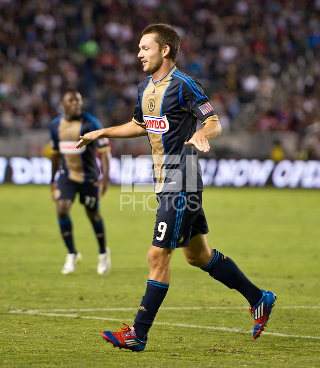 CARSON, CA - July 4, 2012: Philadelphia Union forward Jack McInerney (9) celebrates his goal during the LA Galaxy vs Philadelphia Union match at the Home Depot Center in Carson, California. Final score LA Galaxy 1, Philadelphia Union 2.