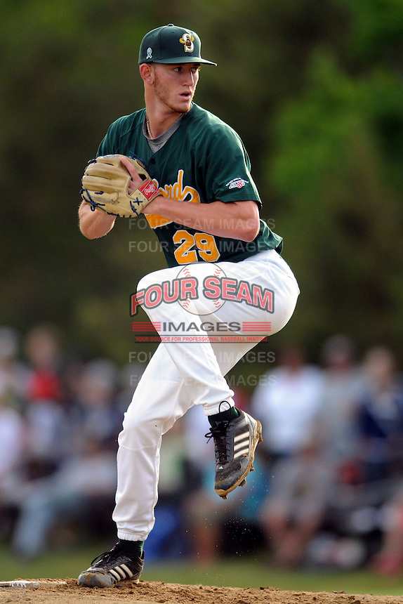 Sanford Mainers pitcher Connor Krauss (Seton Hall) #29 during a game versus the Plymouth Pilgrims at Forges Field in Plymouth, Massachusetts on June 8, 2013.  (Ken Babbitt/Four Seam Images)