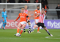 Blackpool's Callum Guy under pressure from Exeter City's Jake Taylor<br /> <br /> Photographer Kevin Barnes/CameraSport<br /> <br /> Emirates FA Cup First Round - Exeter City v Blackpool - Saturday 10th November 2018 - St James Park - Exeter<br />  <br /> World Copyright &copy; 2018 CameraSport. All rights reserved. 43 Linden Ave. Countesthorpe. Leicester. England. LE8 5PG - Tel: +44 (0) 116 277 4147 - admin@camerasport.com - www.camerasport.com