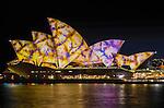 Sydney Opera House illuminated during Vivid Light Festival.