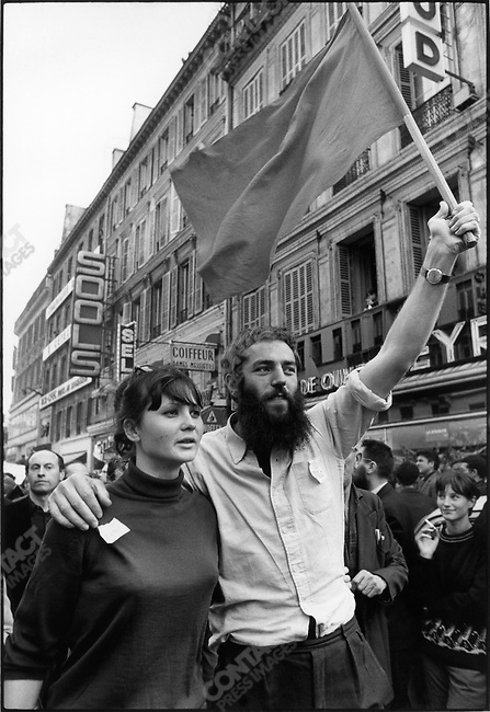 The 1968 May Events, CGT demonstration, rue du Havre, Paris, France, May 29, 1968.