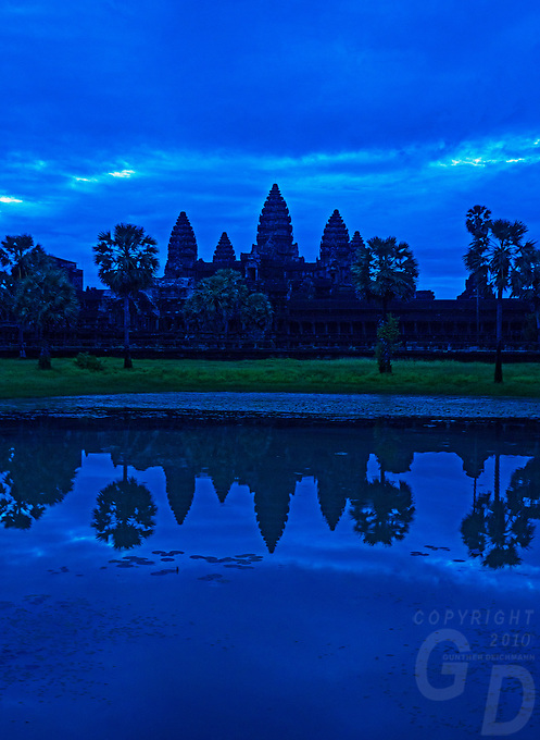 An overcast day and Angkor Wat at Sunrise, Cambodia