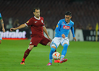 Marek Matejovsky  Jose Callejon   during the Europa League   soccer match between SSC Napoli and Sparta Praha  at  the San Paolo   stadium in Naples  Italy , september 18 , 2014