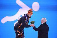 OLYMPICS: SOCHI: Medal Plaza, 13-02-2014, medaille uitreiking, 1000m Men, Michel Mulder (NED), ©foto Martin de Jong