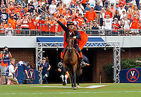 The Virginia  Cavalier mascot takes the field during the first half of the game in Charlottesville, Va. Virginia defeated Brigham Young 19-16. Photo/Andrew Shurtleff