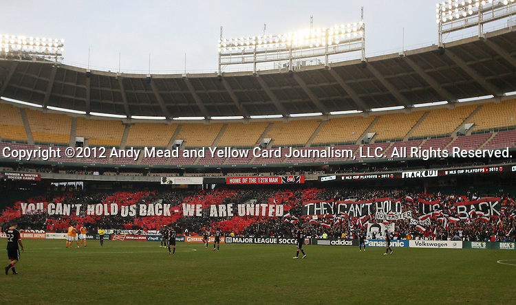 18 November 2012: DC fan tifo before the game. DC United played the Houston Dynamo at RFK Stadium in Washington, DC in the second leg of their 2012 MLS Cup Playoffs Eastern Conference Final series. The game ended in a 1-1 tie, Houston won the series 4-2 on aggregate goals.