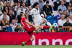 Marcelo Vieira Da Silva of Real Madrid fights for the ball with Phillip Lahm of FC Bayern Munich during their 2016-17 UEFA Champions League Quarter-finals second leg match between Real Madrid and FC Bayern Munich at the Estadio Santiago Bernabeu on 18 April 2017 in Madrid, Spain. Photo by Diego Gonzalez Souto / Power Sport Images