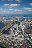 Aerial views Boston, MA 2000 ft w/ cumulus clouds