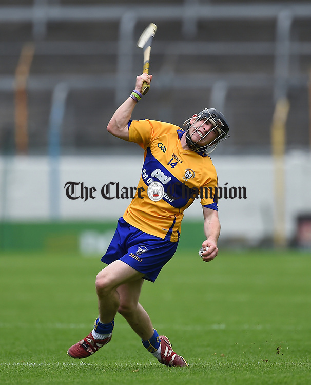 Michael O Neill of Clare reacts to a ref's  whistle during their Intermediate All-Ireland final at Thurles. Photograph by John Kelly.