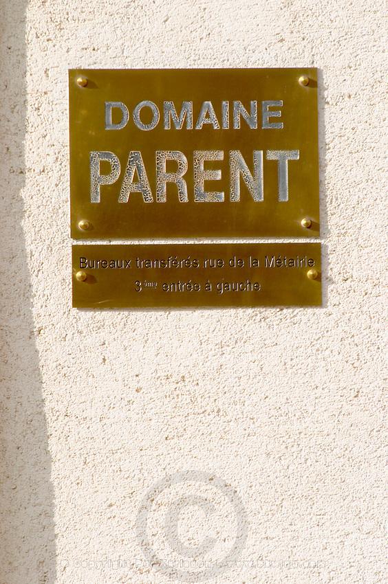 sign domaine parent pommard cote de beaune burgundy france
