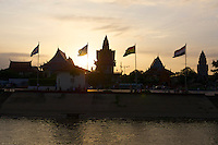 Phnom Penh, Cambodia. Sunset cruise to the confluence of Tonle Sap and Mekong river.<br /> Wat Ounalom.